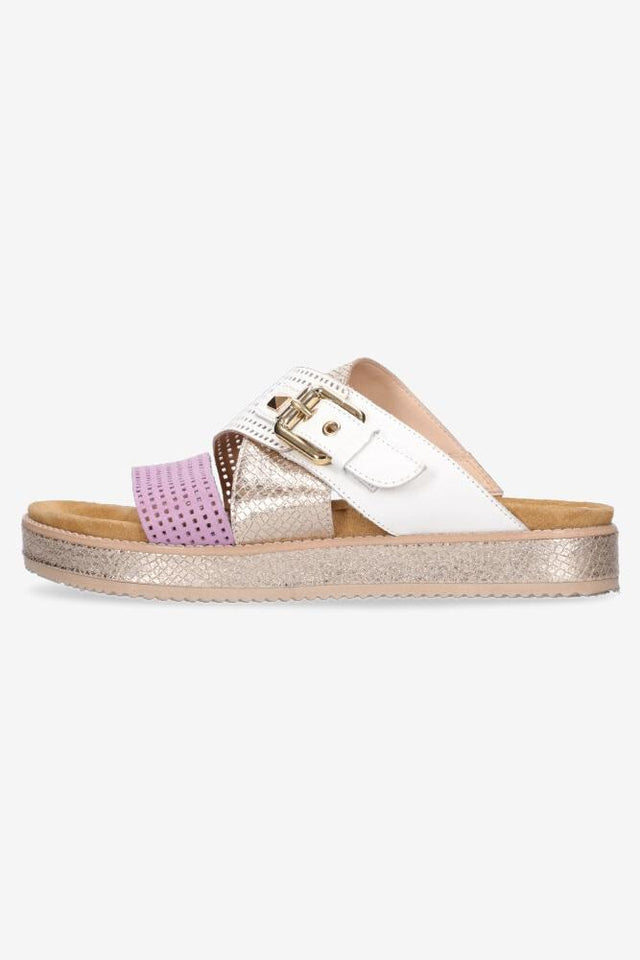 Bella Sandal White/Purple/Gold