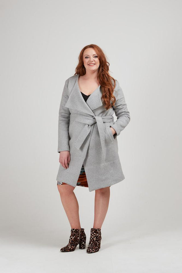 Pinstitch Wrap Coat - Ash