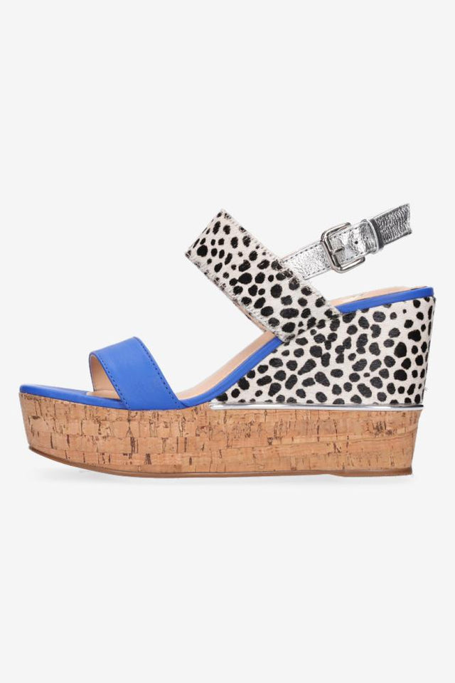 Zaria Heel Electric Blue & Silver Snow Leopard