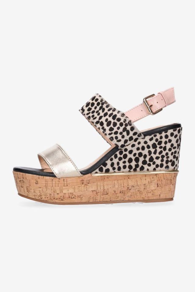 Zaria Heel Snow Leopard & Gold with Blush