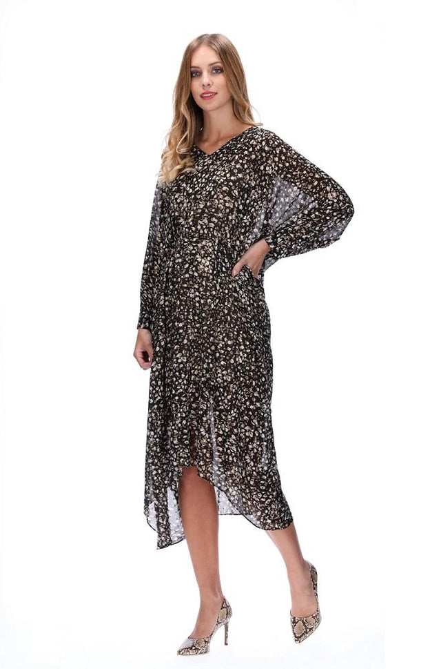 ADESSA DRESS BLACK LEOPARD