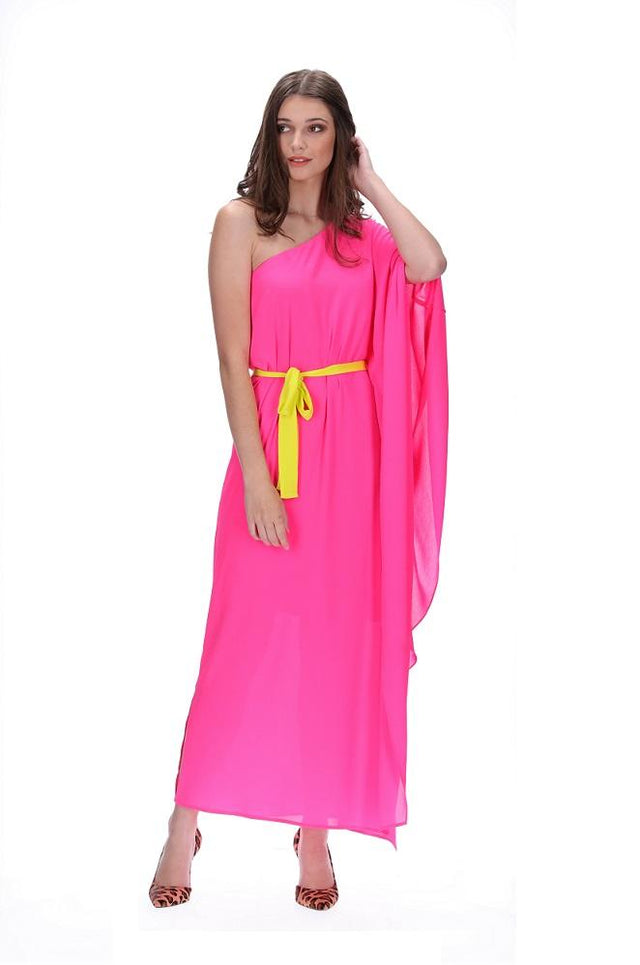 Fluro Pink One Shoulder Dress