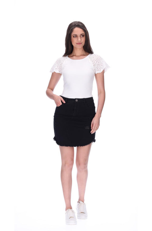 Emma Denim Skirt Black