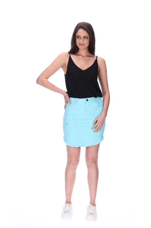Emma Denim Skirt Mint