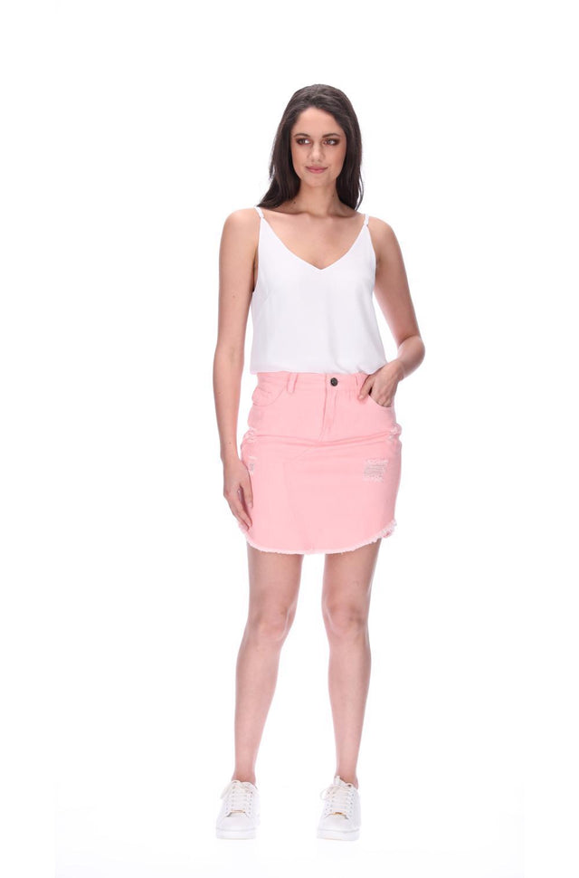 Emma Denim Skirt Peach