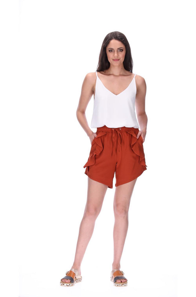 Havie Frill Shorts Rust