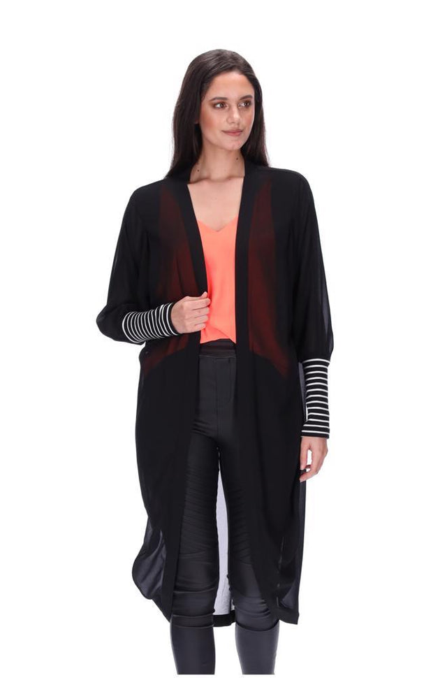Black Striped Cuff Kimono Long