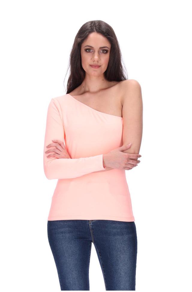 Lily One Shoulder Top Peach