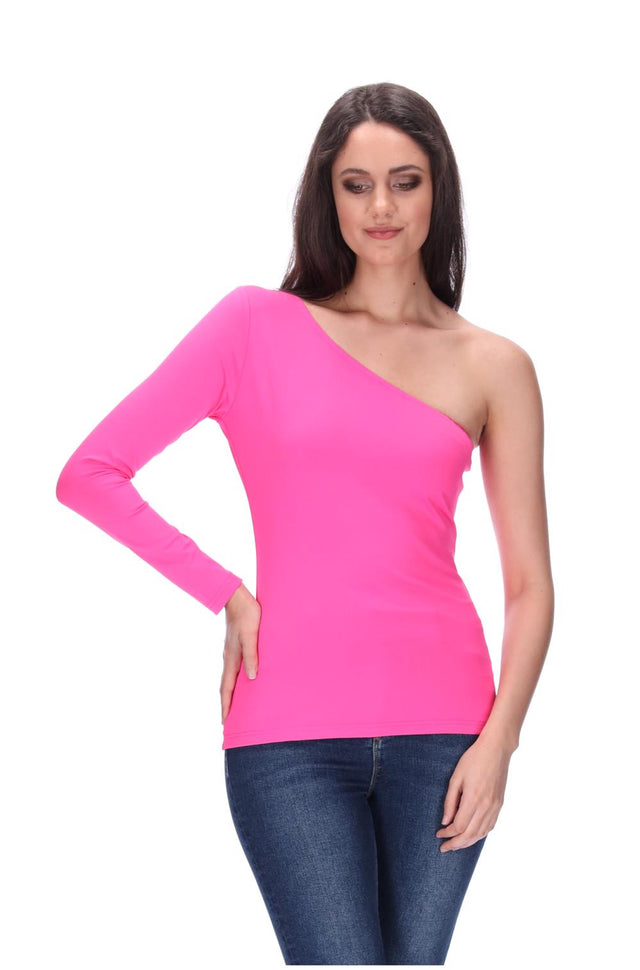 Lily One Shoulder Top Hot Pink