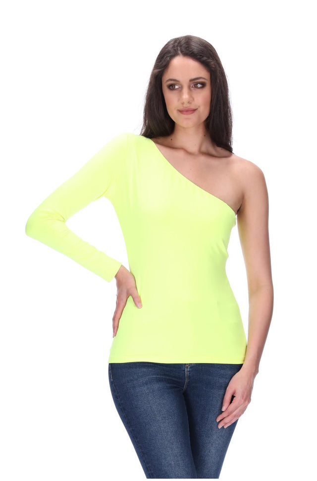 Lily One Shoulder Top Fluro Yellow