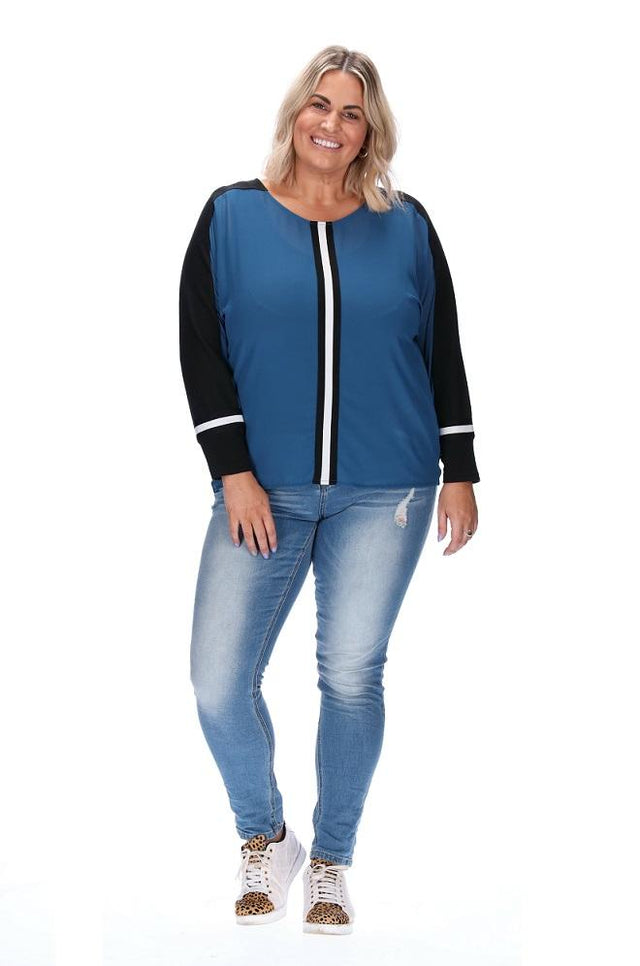 Naomi Top - Blue/Black