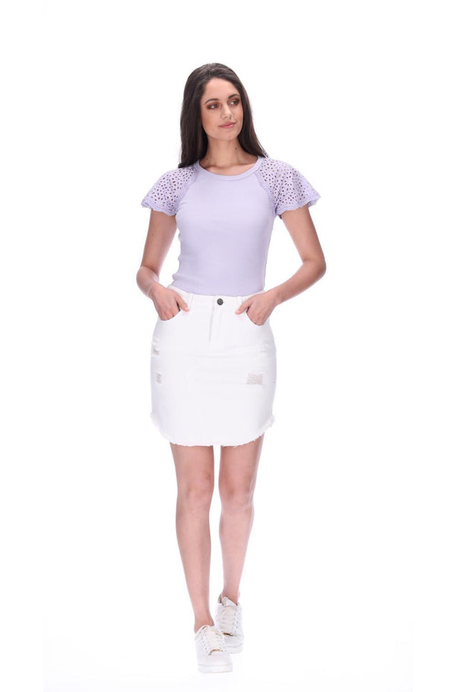 Emma Denim Skirt White