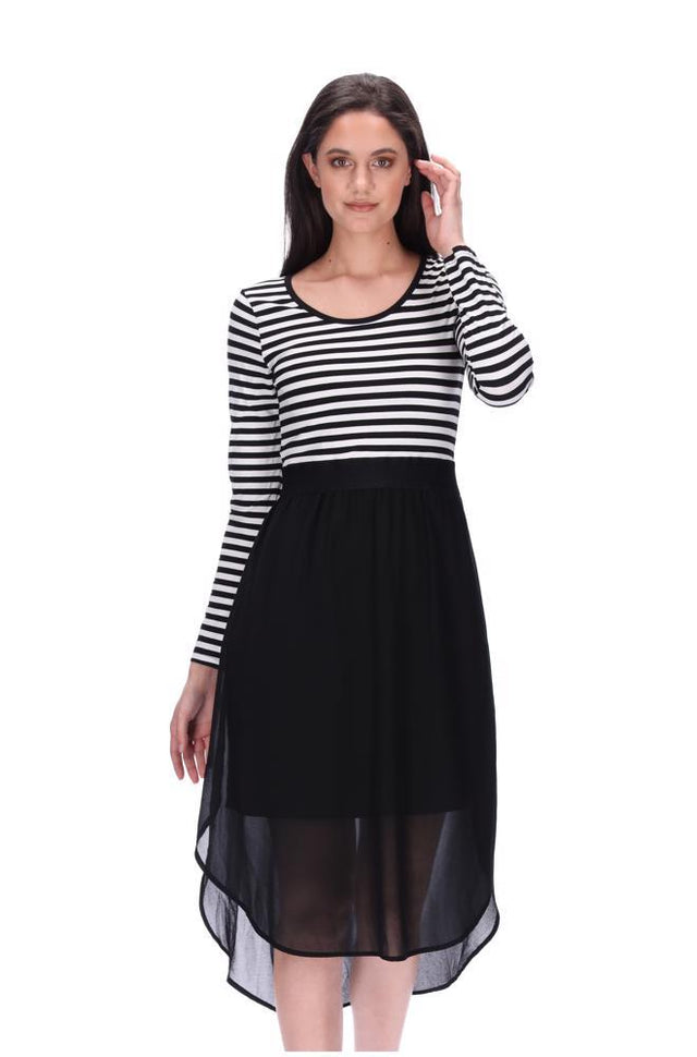 Siri Midi Dress LS Black