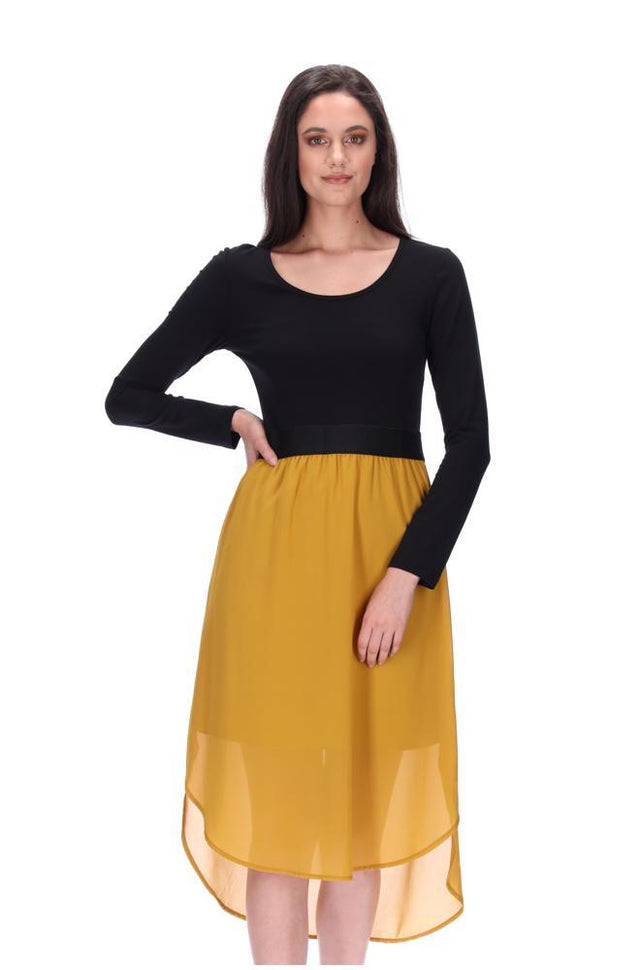 Siri Midi Dress LS Black/Mustard