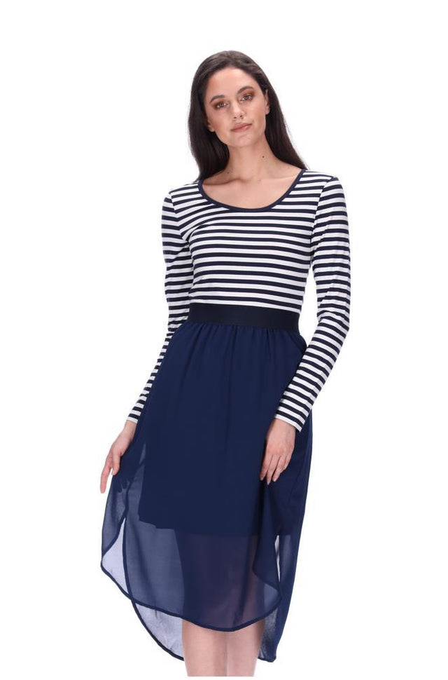 Siri Midi Dress LS Navy