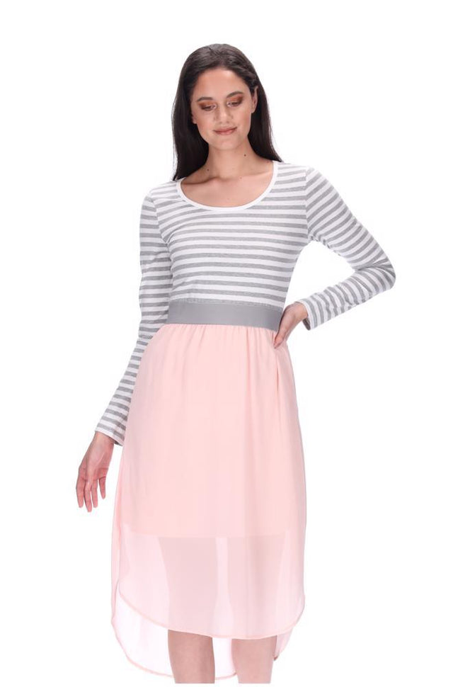 Siri Midi Dress LS Pink