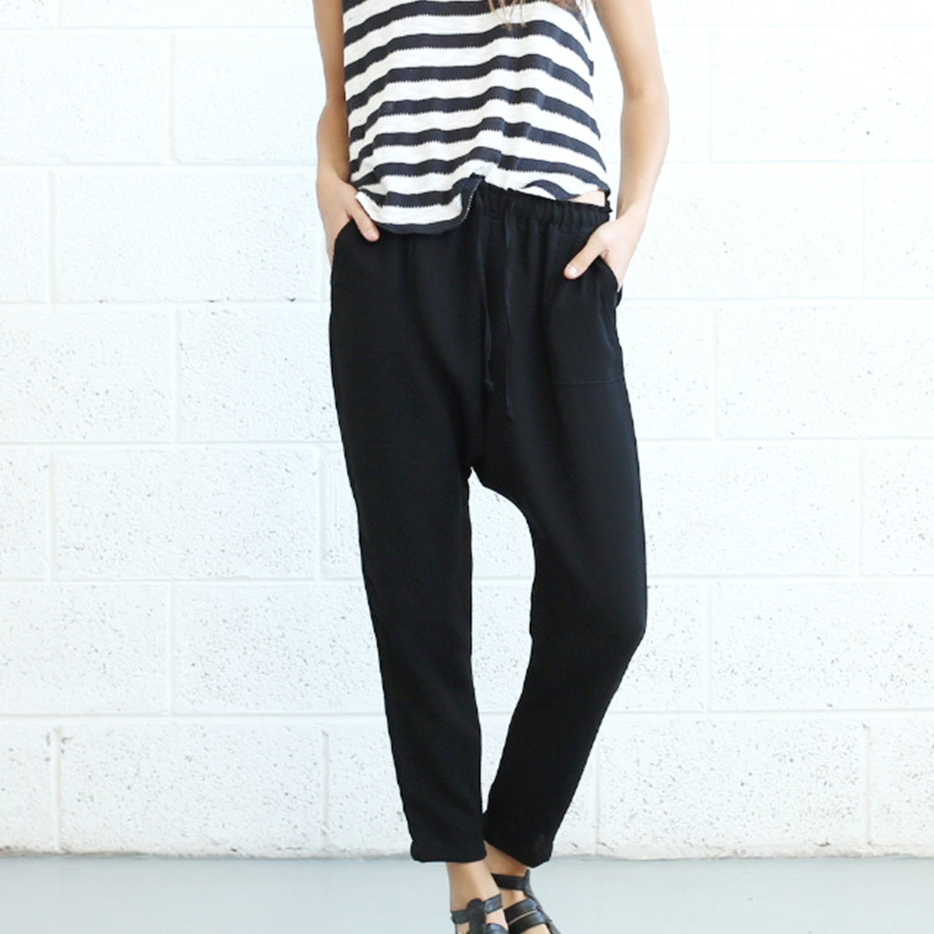 Drop Crotch Pants- Black.