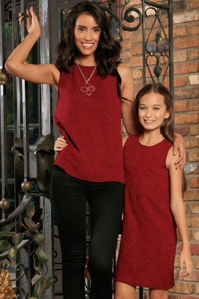 Ruby Red Floral Sleeveless Holiday Designer Mother Daughter Outfit