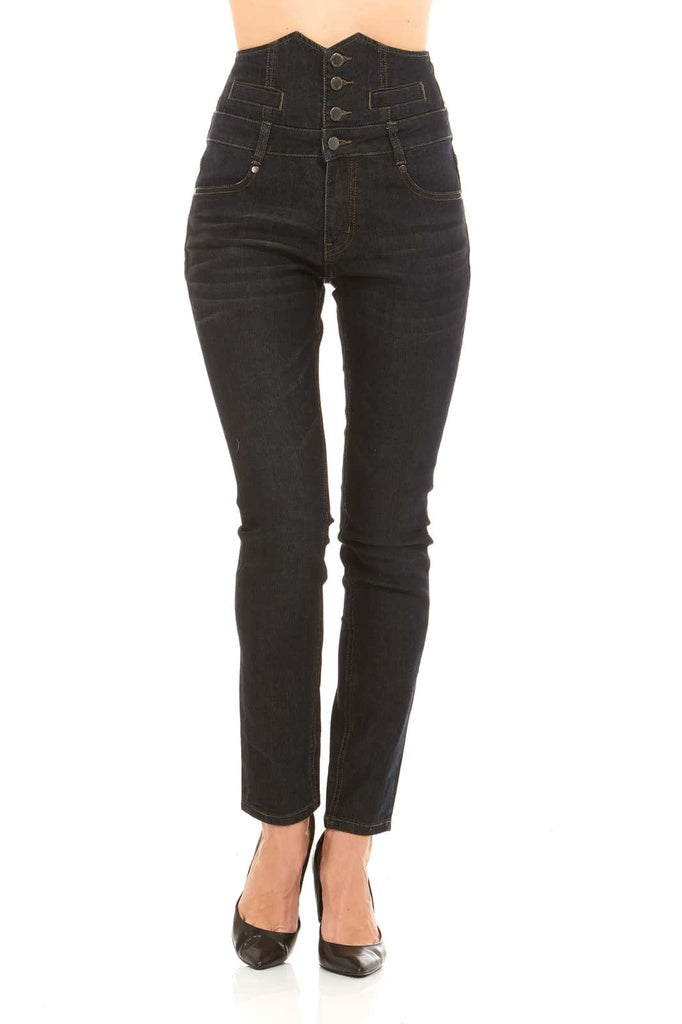 Red Jeans Women's High Waist Black Denim Jeans with Button Front