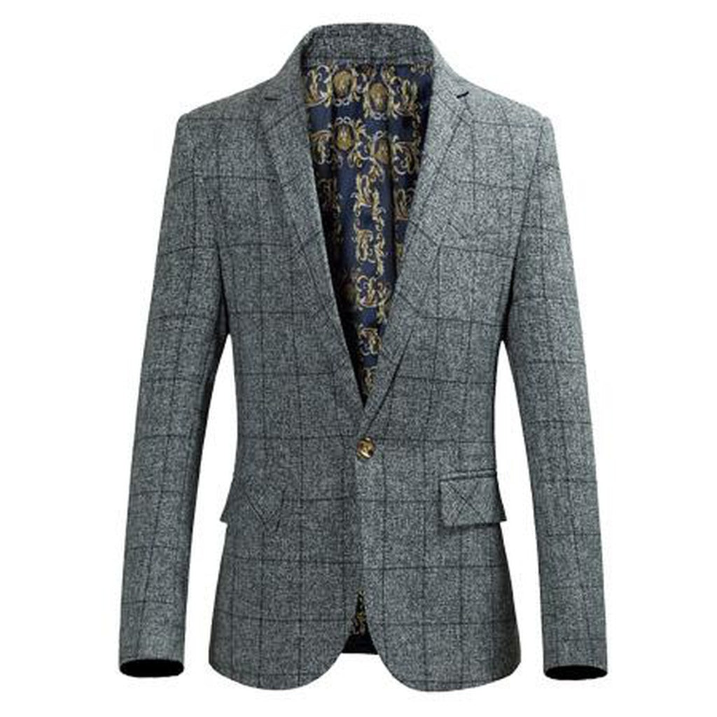 Plaid Slim Fit Blazers Single Button