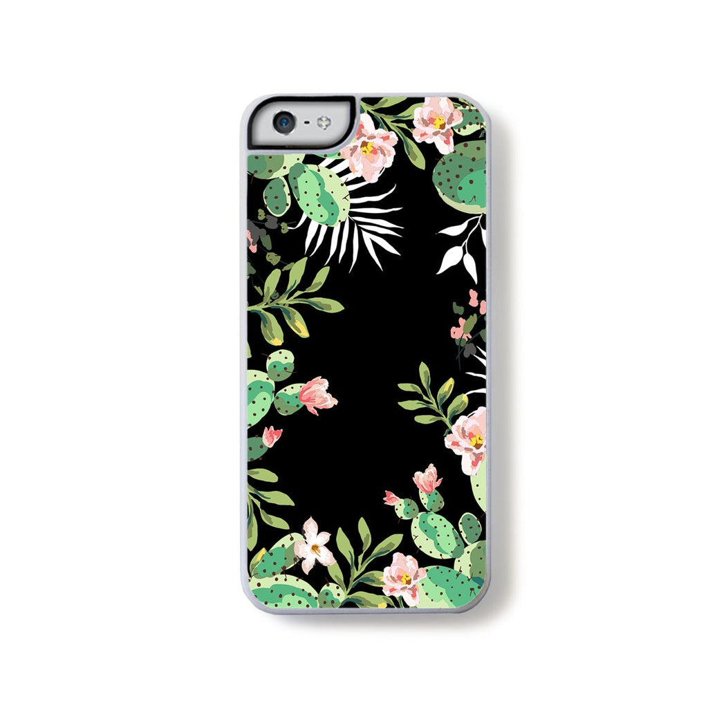 Cactus green and pink boarder on black for iPhone 5