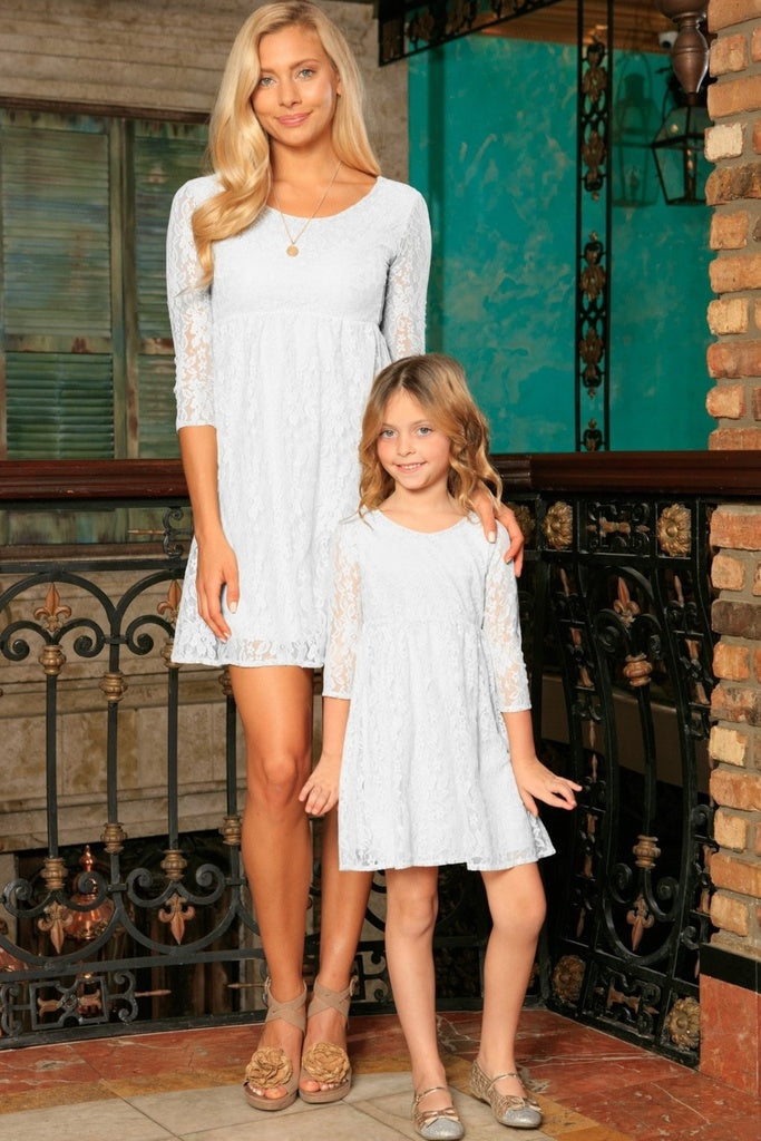 White Stretchy Lace Empire Three-Quarter Sleeve Mother Daughter Dress