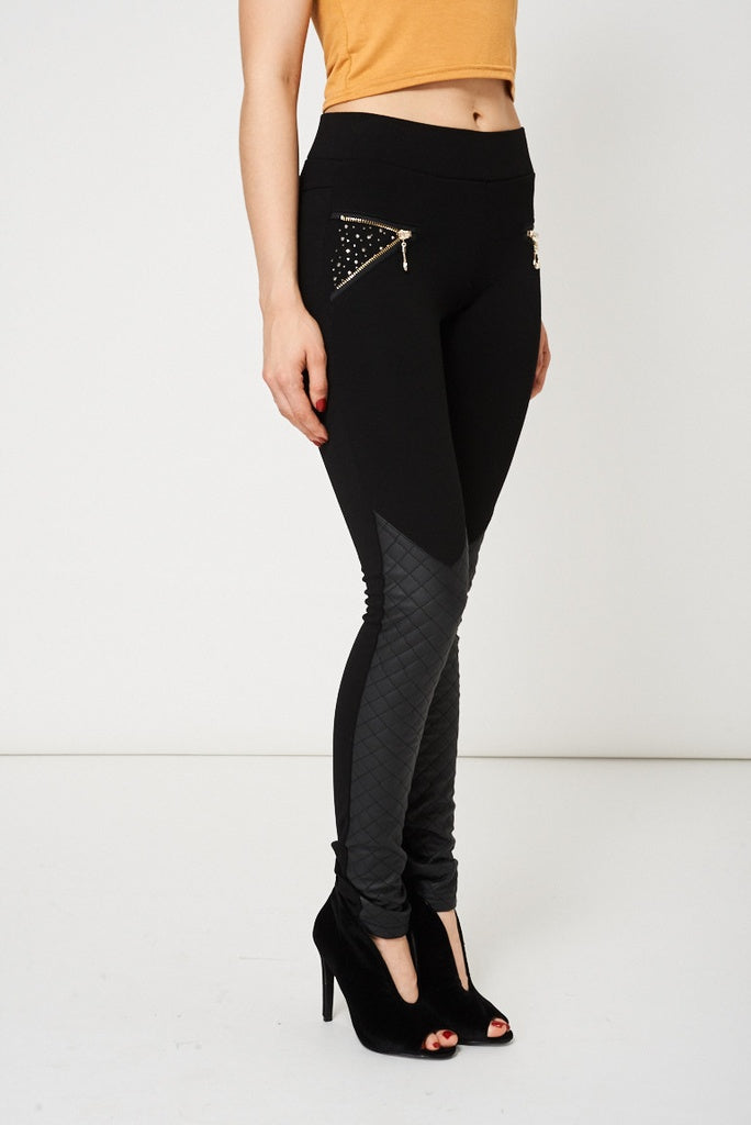 Black Skinny Trousers With Faux Leather Detail