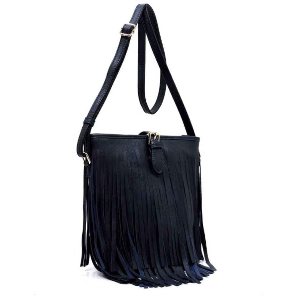Women's Handbag Navy Leather Fringe