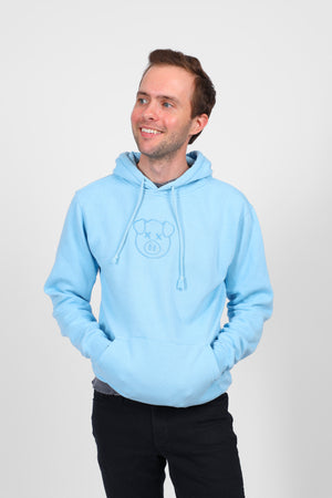 Embroidered Logo Hoodie Blue