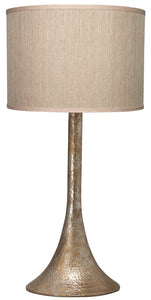 Hammered Metal Table Lamp with Classic Drum Hand Painted Shade in Platinum - Edwina Alexis