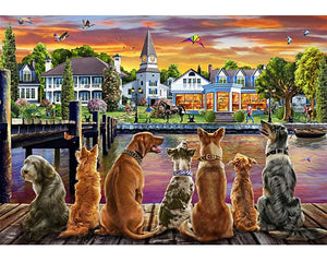 Dogs on The Quay Wooden Puzzle (500 Pieces) - Edwina Alexis