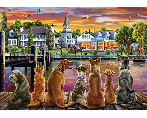 Dogs on The Quay Wooden Puzzle (250 Pieces) - Edwina Alexis