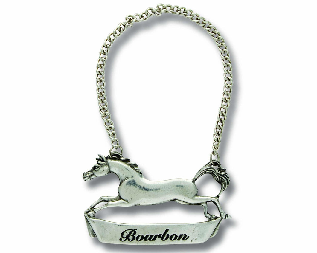 Pewter Galloping Steed Decanter Tag - Bourbon - Edwina Alexis