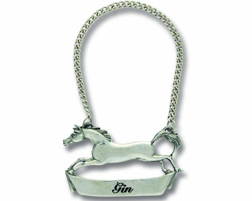 Pewter Galloping Decanter Tag - Gin - Edwina Alexis