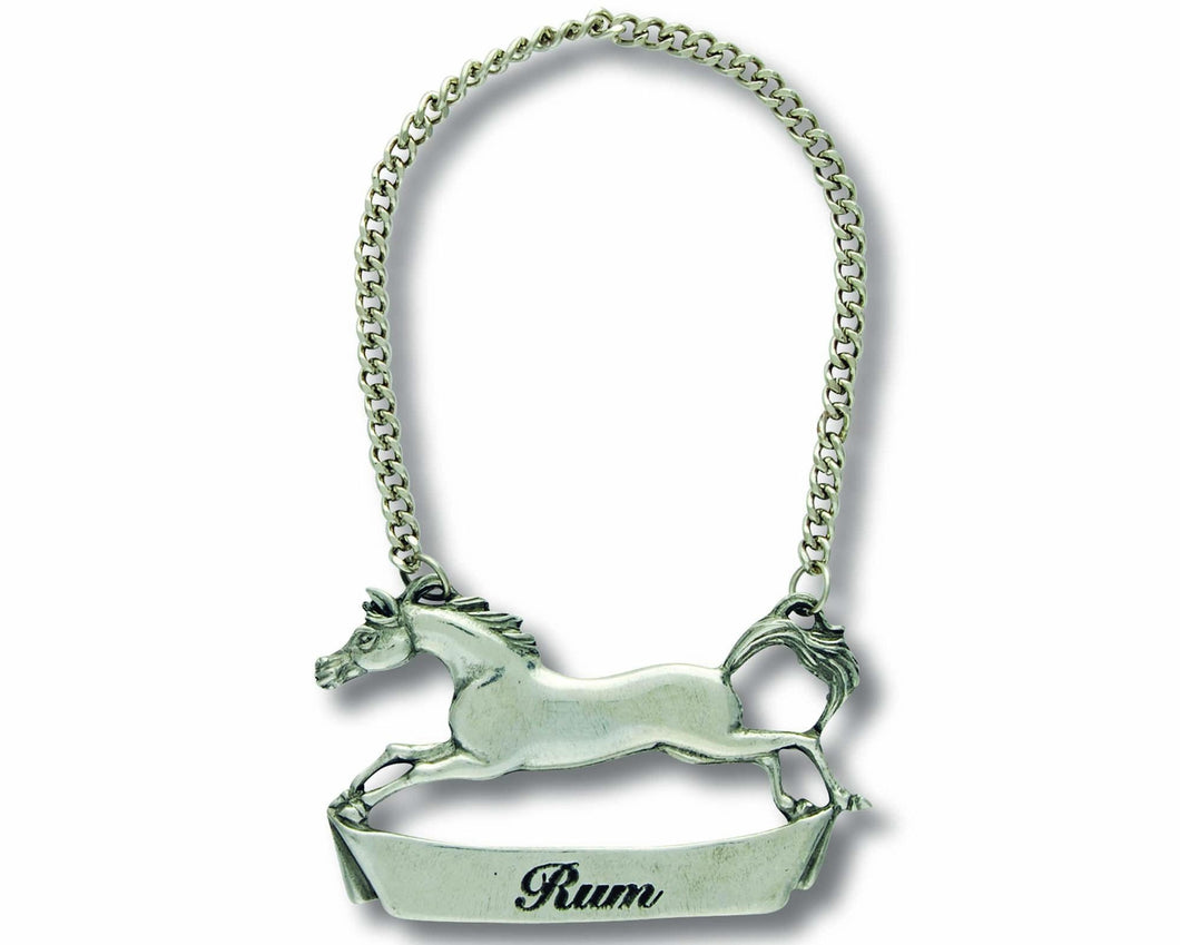 Pewter Galloping Steed Decanter Tag - Rum - Edwina Alexis