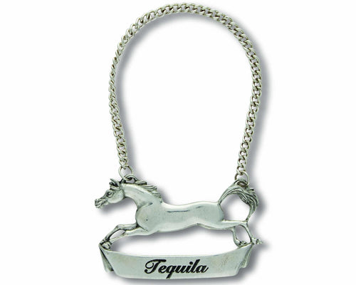 Pewter Galloping Steed Decanter Tag - Tequilla - Edwina Alexis