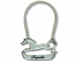 Pewter Galloping Steed Decanter Tag - Tequilla - edwina-vidosh