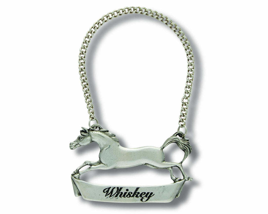 Pewter Galloping Steed Decanter Tag - Whiskey - Edwina Alexis