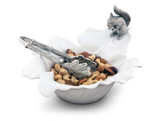 Load image into Gallery viewer, Fine Porcelain Leaf Bowl With Pewter Squirrel - edwina-vidosh