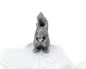 Fine Porcelain Leaf Bowl With Pewter Squirrel - edwina-vidosh