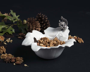 Fine Porcelain Leaf Bowl With Pewter Squirrel - Edwina Alexis