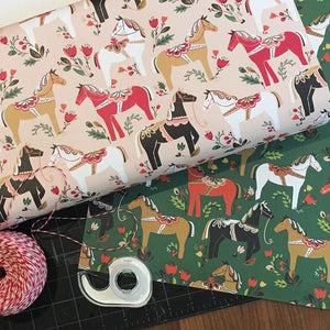 Dala Pony Gift Wrap in Blush (Roll of 3 Sheets) - Edwina Alexis
