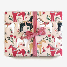 Load image into Gallery viewer, Dala Pony Gift Wrap in Blush (Roll of 3 Sheets) - edwina-vidosh