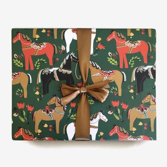 Dala Pony Gift Wrap in Pine (Roll of 3 Sheets) - edwina-vidosh