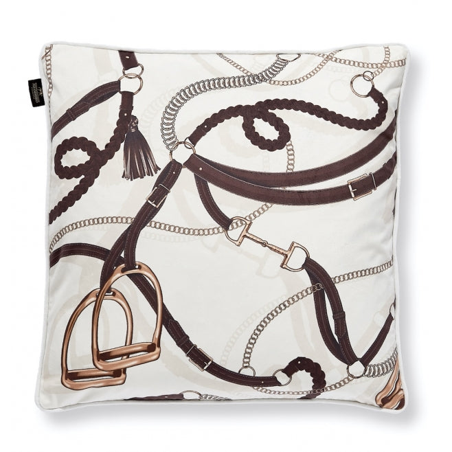 Velvet Off-white Tressage Equestrian Pillow - Edwina Alexis