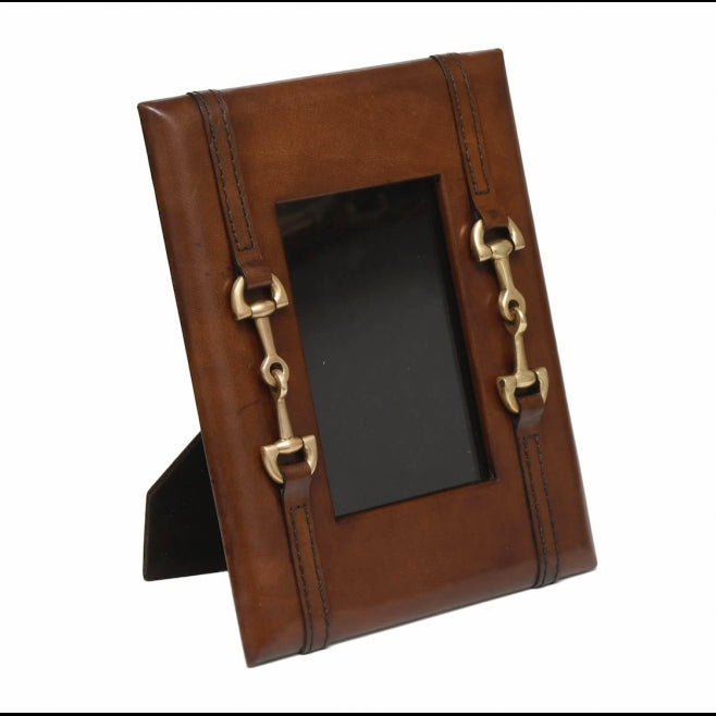 Brown Leather Equestrian Bit Frame - Edwina Alexis