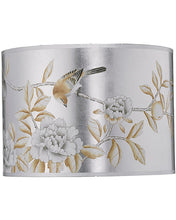 Load image into Gallery viewer, Hammered Metal Table Lamp with Classic Drum Hand Painted Shade in Platinum - Edwina Alexis