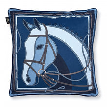 Load image into Gallery viewer, Blue Equestrian Horse Pillow - Edwina Alexis