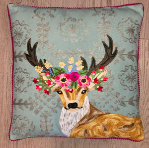 Antler Flower With Wallpaper Pillow 18X18 - Edwina Alexis