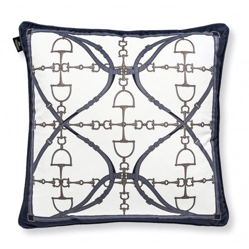 Navy and White Horse Bit Pillow - Edwina Alexis